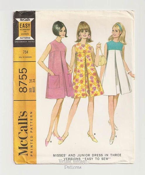 1960s McCalls 8755, Sleeveless Tent Dress Pattern