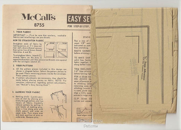 60s Sleeveless Tent Dress Pattern, McCalls 8755, Front Yoke, Inverted Pleat Dress, Bust 34, Uncut