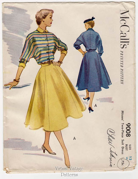 McCalls 9008, 1950s Two Piece Dress Pattern