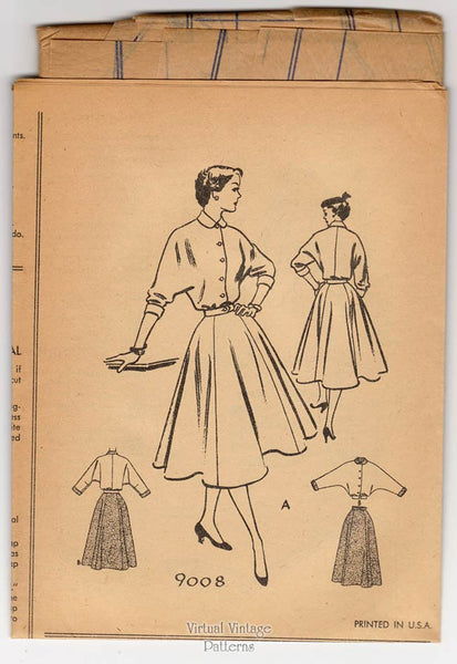 1950s Two Piece Dress Pattern, McCalls 9008, Dolman Sleeve Suit Dress with Full Skirt, Uncut
