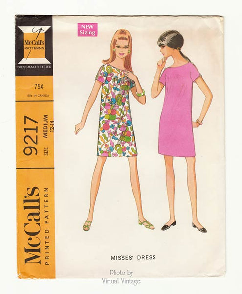 McCalls 9217 Short Sleeve Shift Dress Vintage Sewing Pattern