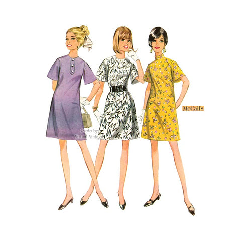 Vintage A Line Bell Sleeve Dress Pattern, McCall's 9242
