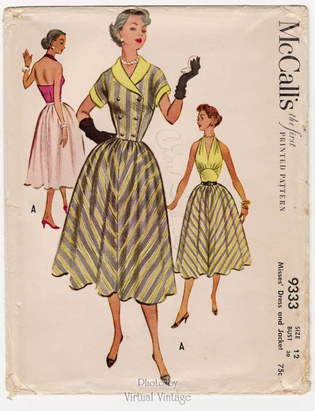 McCalls 9333, 1950s Halter Dress Sewing Pattern