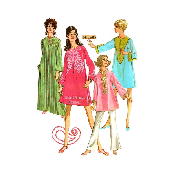 1960s Kaftan Dress Pattern, McCalls 9607, Rajah Dress