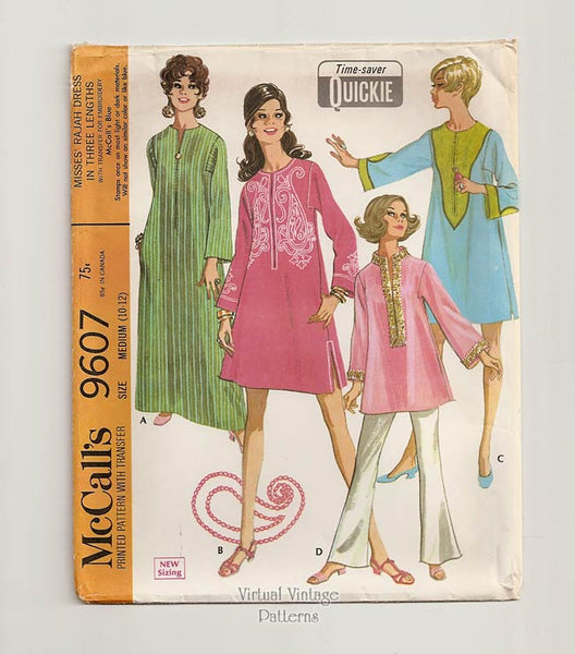 McCalls 9607, 1960s Kaftan Dress Pattern