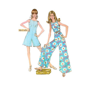 1960s Mod Jumpsuit Pattern, McCalls 9609, Sleeveless Pantdress