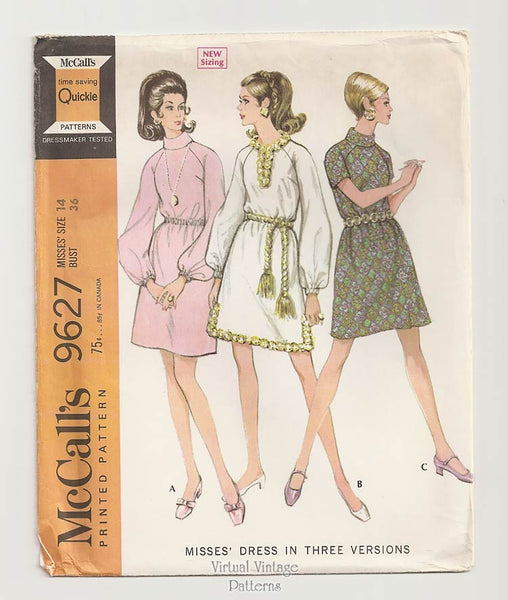 McCalls 9627, 1960s Dress Sewing Pattern