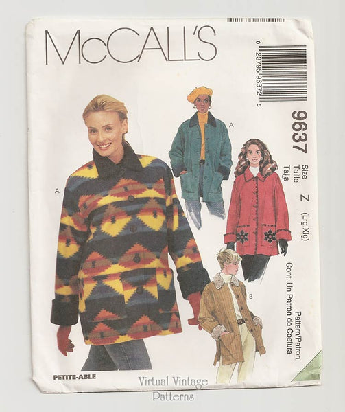 McCalls 9637, Womens Jacket Sewing Pattern