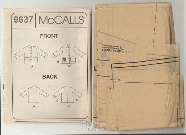 Womens Jacket Sewing Pattern, McCalls 9637, Lined Jacket with Pockets, Sizes 16 18 20 22, Uncut