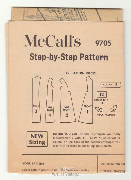 Cute 60s A line Dress Pattern McCalls 9705 Inverted Pleats, Short Sleeves or Sleeveless Dresses Bust 34 Uncut