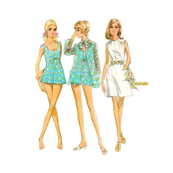 Vintage Swimsuit Pattern with Cover Up & Beach Dress, McCalls 9786