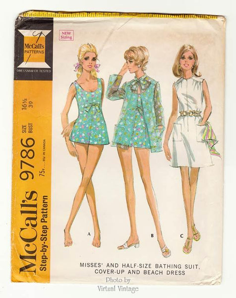 McCalls 9786 Vintage Swimsuit Pattern with Cover Up & Beach Dress