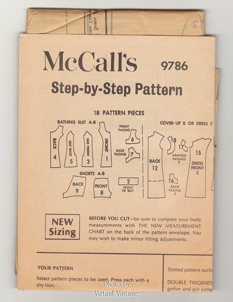 McCalls 9786 Vintage Swimsuit Pattern with Cover Up & Beach Dress Bust 39, Uncut