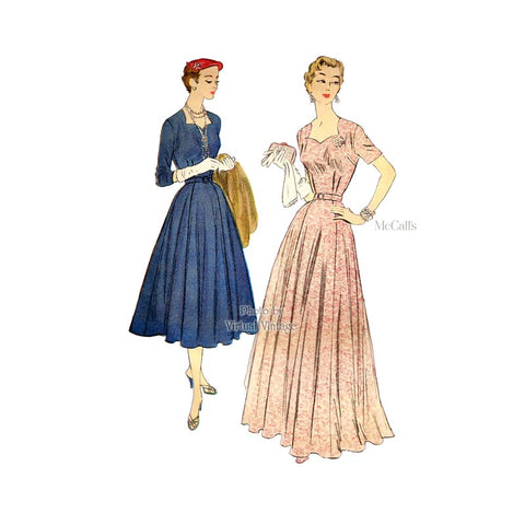 1950s Evening Gown Pattern, McCalls 9951, Sweetheart Neckline Dress Sewing Pattern