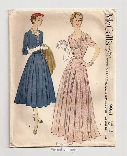 McCalls 9951, 1950s Evening Gown Pattern