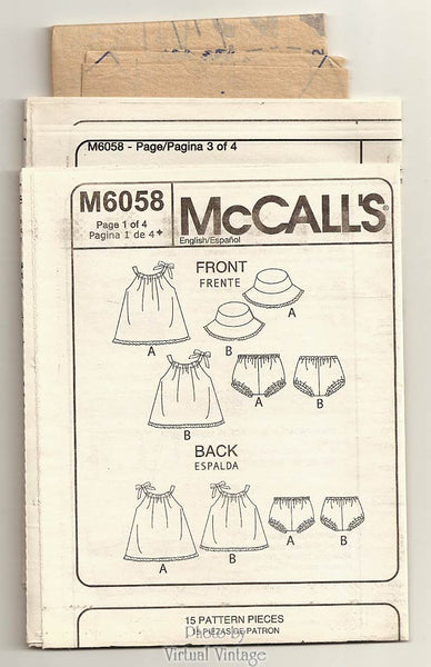 Baby Girl Sundress Pattern McCalls M6058, Sun Dress, Panties & Hat Sewing Patterns, One Size, Uncut