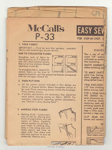60s Skimmer Dress Pattern, McCalls P-33, Chemise Dress, Bust 34 to 36, Uncut