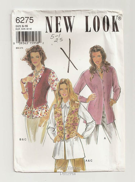 New Look 6275, Womens Vest and Blouse Pattern