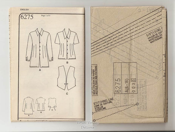 Womens Vest and Blouse Pattern, New Look 6275, Sizes 6 to 16, Uncut