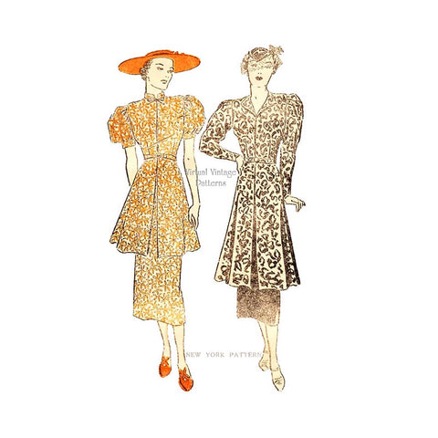 1930s Sewing Pattern, New York 671, 30s Tea Dress