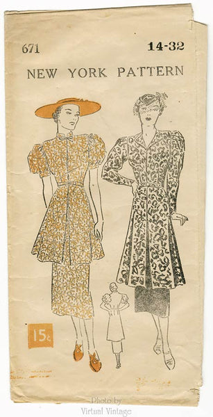 New York 671, 1930s Tea Dress Sewing Pattern