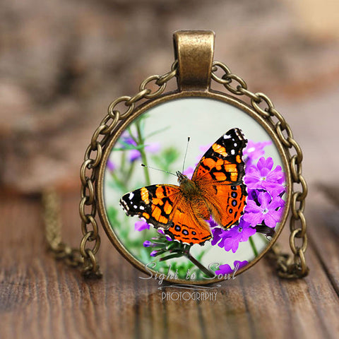 Beautiful Butterfly Necklace, Photo Pendant, Nature Jewelry