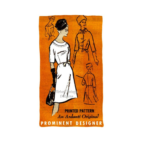 60s Boat Neck Dress Pattern, Ardanti Prominent Designer A559