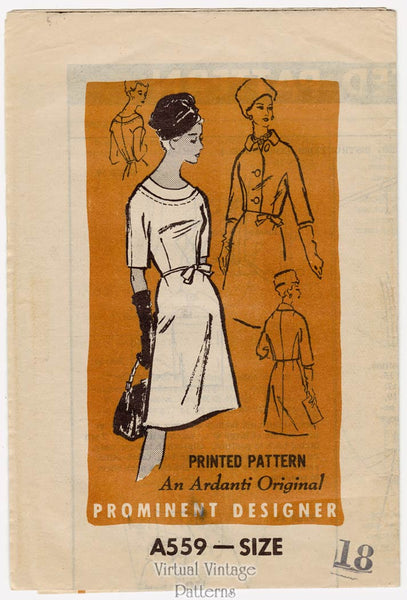1960s Prominent Designer A559, Boat Neck Dress Pattern