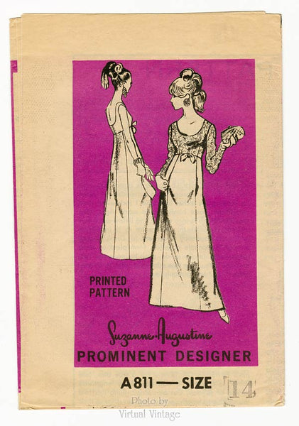 Prominent Designer A811, 1960s Empire Waist Gown Pattern