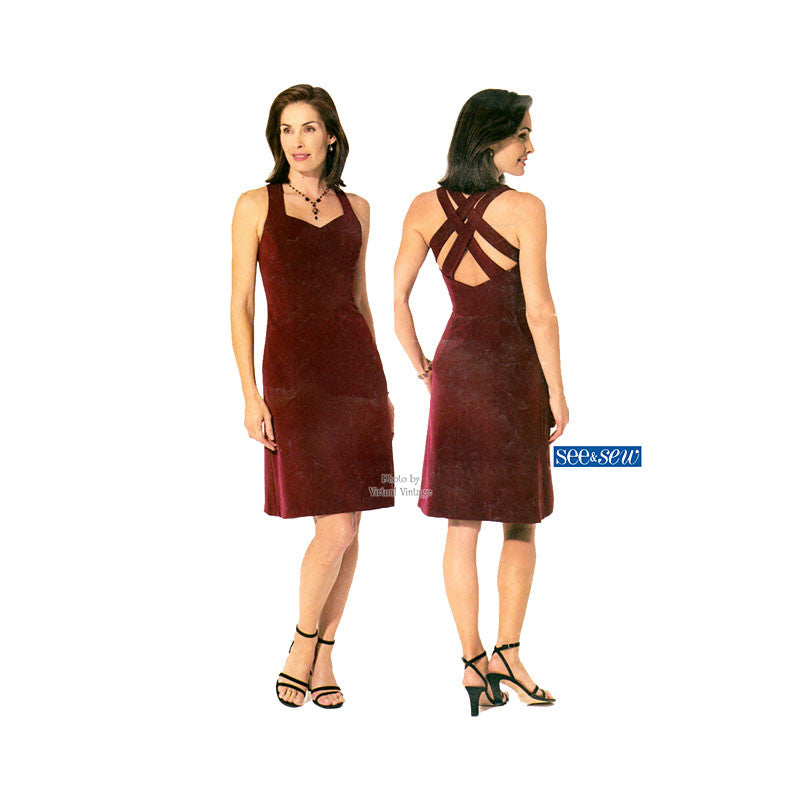 Criss Cross Back Dress Pattern, Butterick 3503, Easy Sewing Pattern, Size 18, 20, 22, Uncut