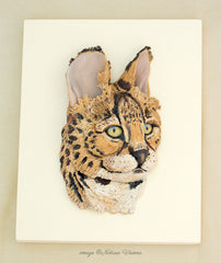 African Wildlife Sculpture Serval Art Polymer Clay Wall Hanging Bas Relief Wild Cat Figurine