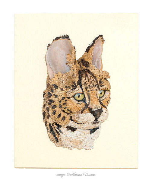 Serval sculpture, cat lover gift, African wildlife art