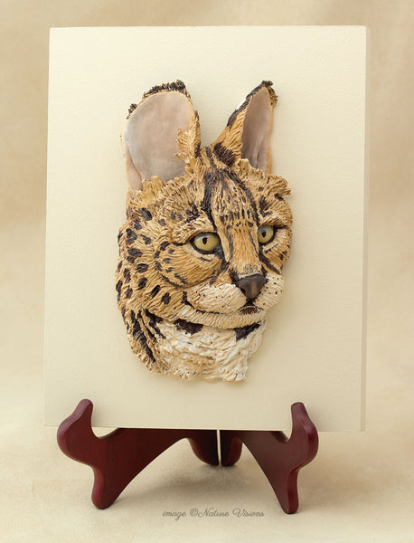 Serval wall art, African wildlife sculpture