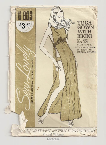 Sew Lovely G803, 70s Toga Gown Pattern, Vintage Nightgown