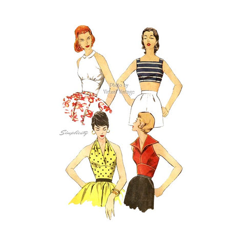 Simplicity 1203 1950s Halter Top Pattern, Crop Top Vintage Sewing Patterns