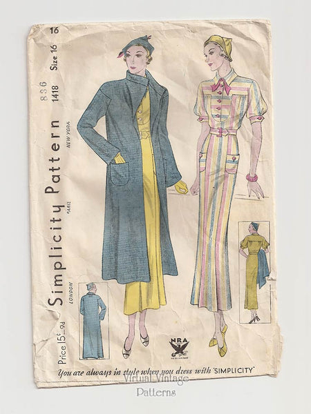 Vintage Simplicity 1418 Dress & Coat, 1930s Sewing Patterns
