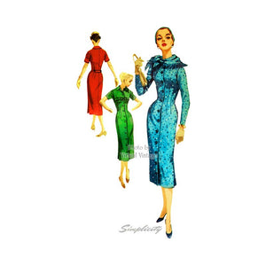 50s Coat Dress Pattern with Scarf, Simplicity 1711