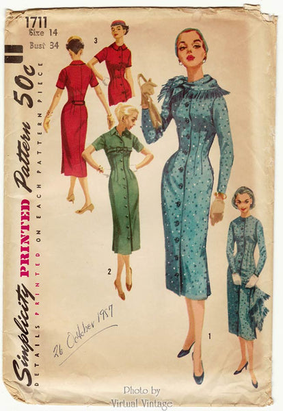 Simplicity 1711, 50s Coat Dress Pattern with Scarf