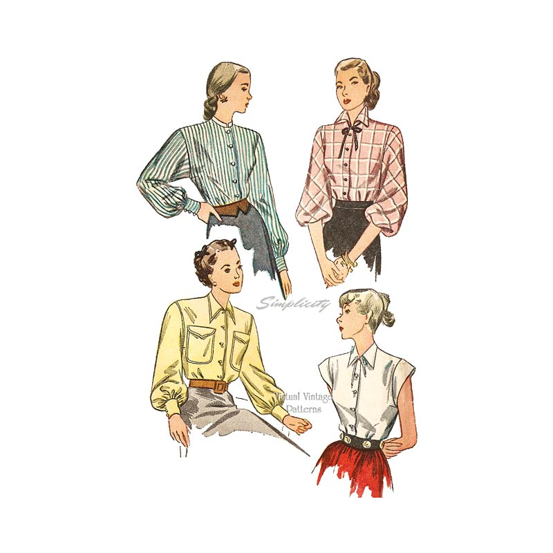 1940s Blouse Sewing Pattern, Simplicity 1728
