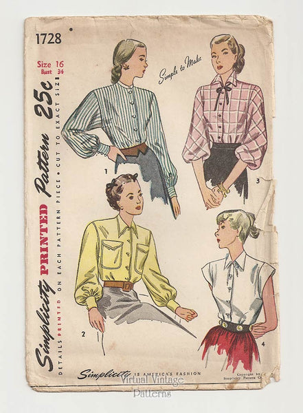 Simplicity 1728, 1940s Blouse Sewing Pattern
