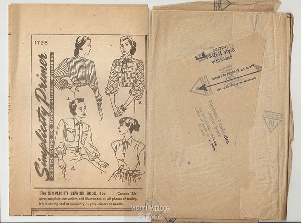 1940s Blouse Sewing Pattern, Simplicity 1728, Easy Sew, Bishop or Cap Sleeve Shirt, Bust 34