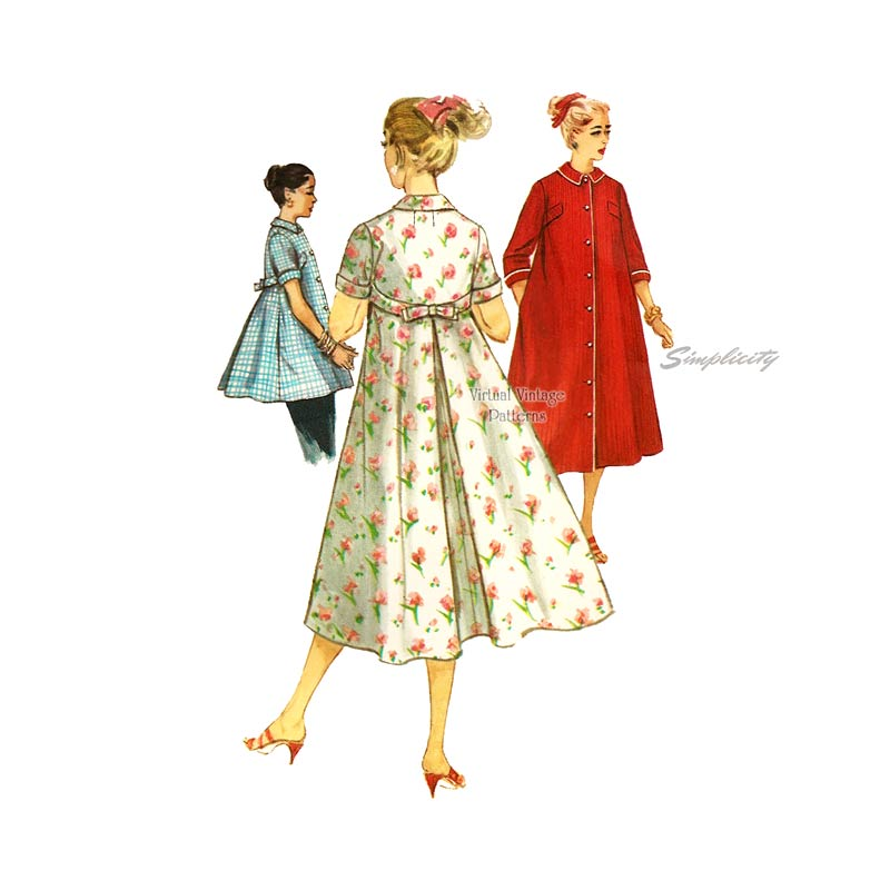 1950s Housecoat, Smock & Robe Pattern, Simplicity 1814