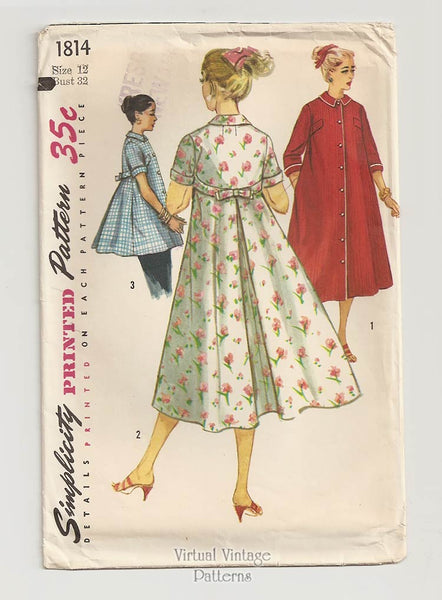 Simplicity 1814, 1950s Housecoat, Smock & Robe Pattern