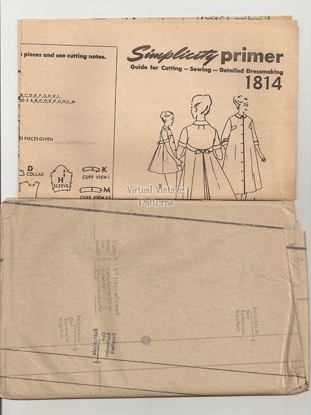 1950s Housecoat, Smock & Robe Pattern, Simplicity 1814, Uncut Vintage Sewing Patterns