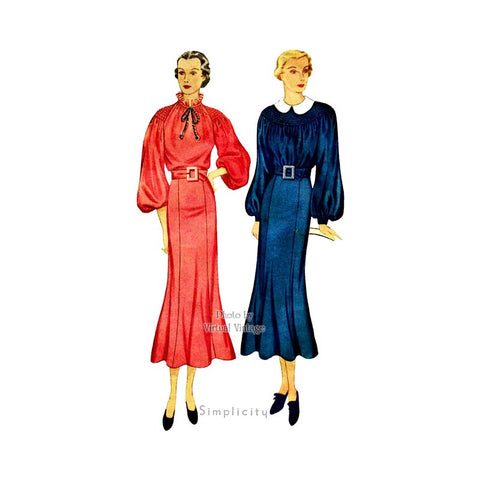 1930s Shirred Dress Pattern, Simplicity 1828
