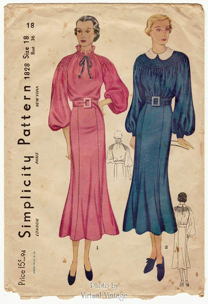 Simplicity 1828, 1930s Shirred Dress Pattern