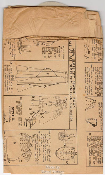 1930s Shirred Dress Pattern, Simplicity 1828, Peasant Neckline, Bishop Sleeves, Gore Skirt, Bust 36
