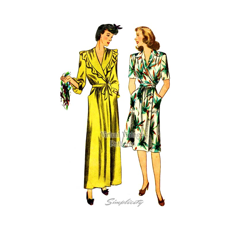 1940s House Dress and Housecoat Pattern, Simplicity 2155