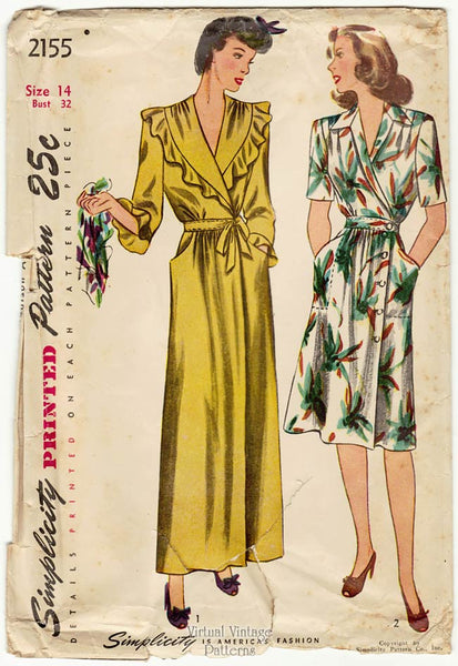 Simplicity 2155, 1940s House Dress and Housecoat Pattern