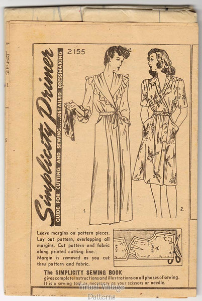Simplicity 2155, 40's women's robe and dress pattern